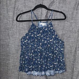 Blue tank top with flower pattern American eagle